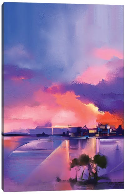 Twilight, Sunset, Colorful Orange And Purple Sky Canvas Art Print