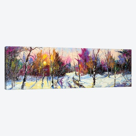Sunset In Winter Wood Canvas Print #DPT14} by balaikin Canvas Wall Art