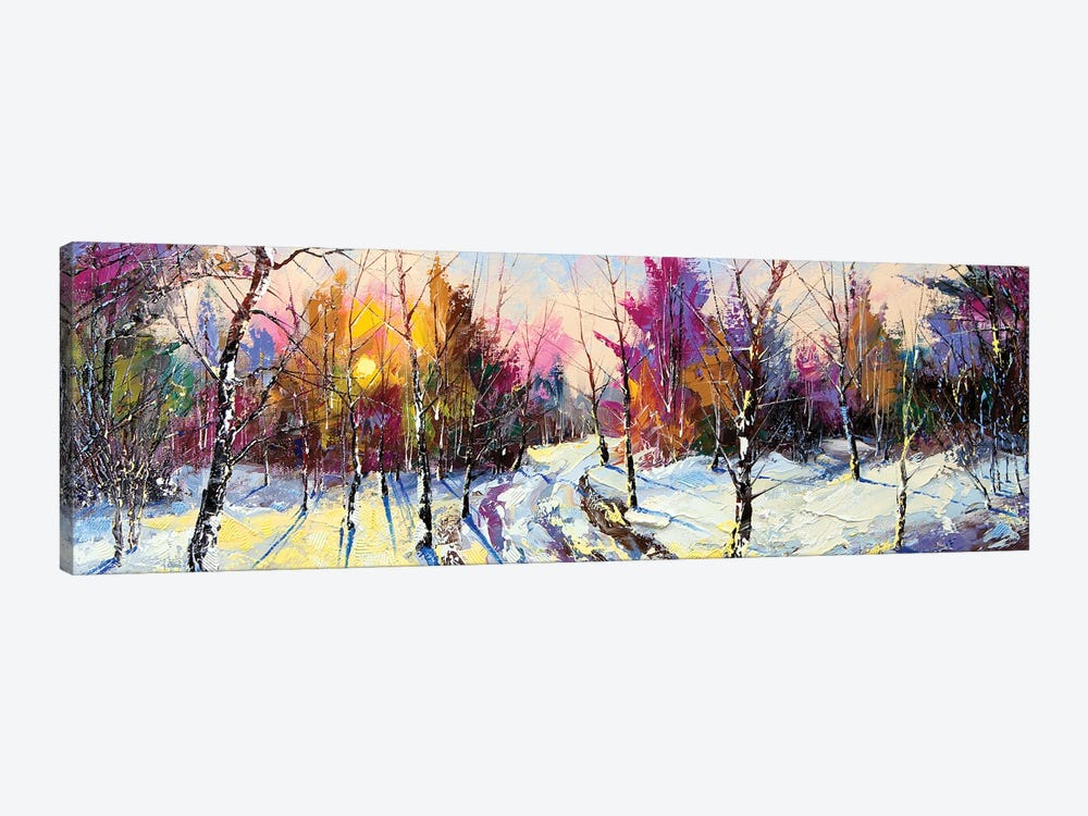 Sunset In Winter Wood 1-piece Canvas Art