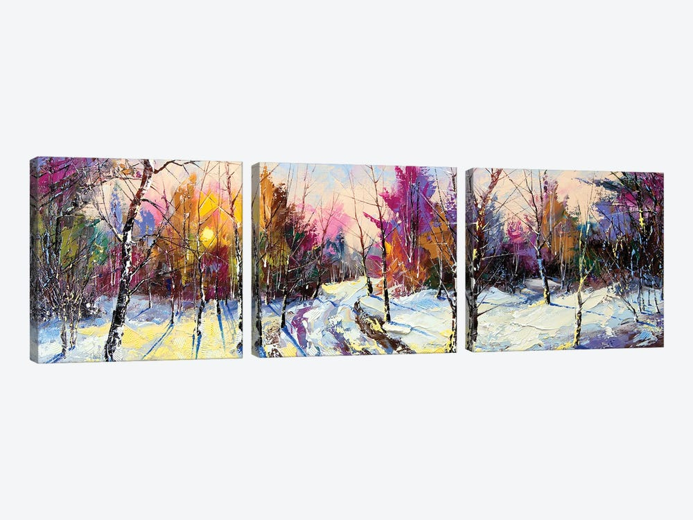 Sunset In Winter Wood 3-piece Canvas Wall Art