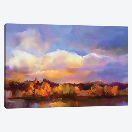 Colorful Yellow, Purple Sky Canvas Print #DPT153} by Nongkran ch Canvas Art Print
