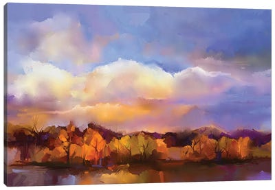 Colorful Yellow, Purple Sky Canvas Art Print
