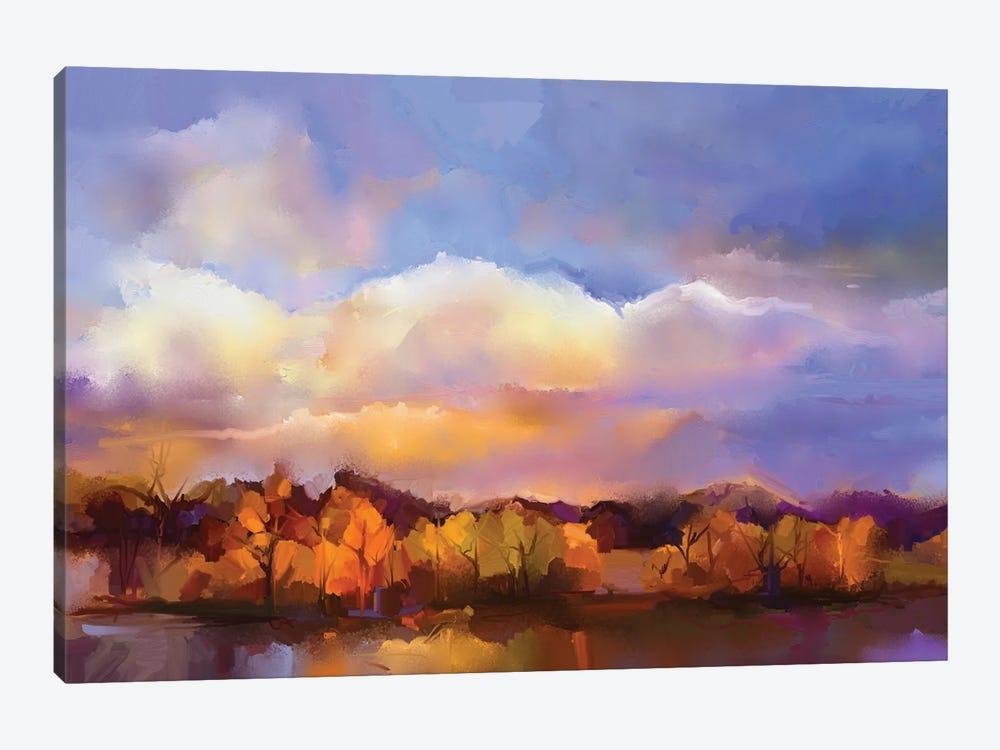 Colorful Yellow, Purple Sky by Nongkran ch 1-piece Canvas Artwork