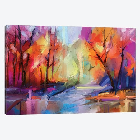 Colorful Autumn Trees I Canvas Print #DPT157} by Nongkran ch Canvas Wall Art