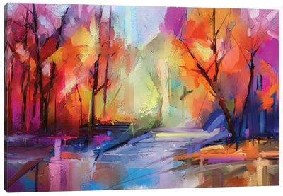 Colorful Autumn Trees I Canvas Art Print