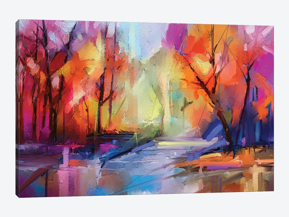 Colorful Autumn Trees I by Nongkran ch 1-piece Canvas Art