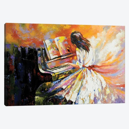 The Girl Playing On The Piano Canvas Print #DPT15} by balaikin Canvas Art