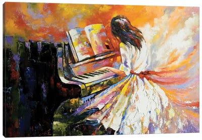 The Girl Playing On The Piano Canvas Art Print