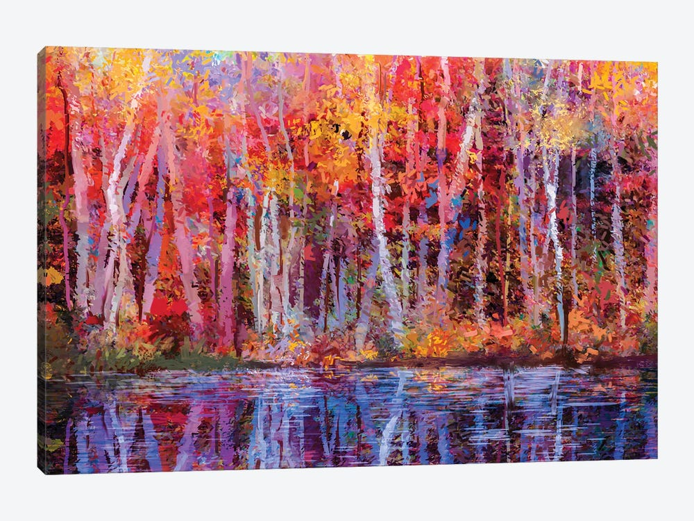 Colorful Autumn Trees IV by Nongkran ch 1-piece Canvas Artwork