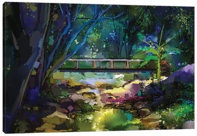 Wooden Bridge Over Creek In Forest. Canvas Art Print
