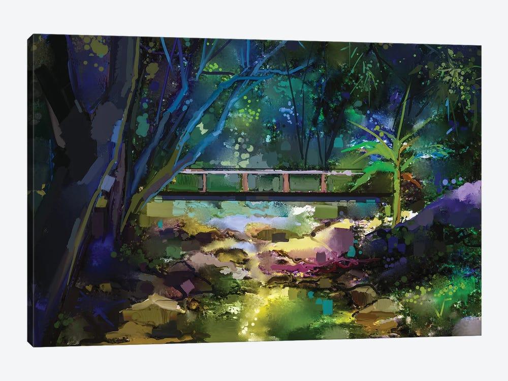 Wooden Bridge Over Creek In Forest. by Nongkran ch 1-piece Canvas Art Print