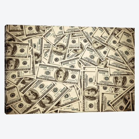 One Hundred Dollar Bills Canvas Print #DPT162} by olegator1977 Canvas Wall Art