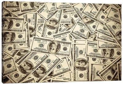 One Hundred Dollar Bills Canvas Art Print