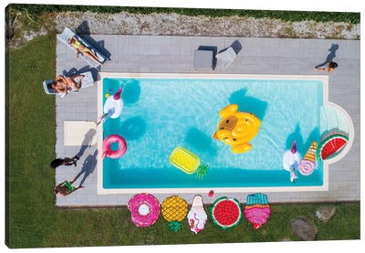 Friends Having Fun In A Swimming Pool I Canvas Art Print