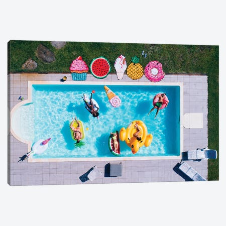Friends Having Fun In A Swimming Pool II Canvas Print #DPT166} by oneinchpunch Art Print