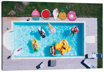 Friends Having Fun In A Swimming Pool II Canvas Art Print