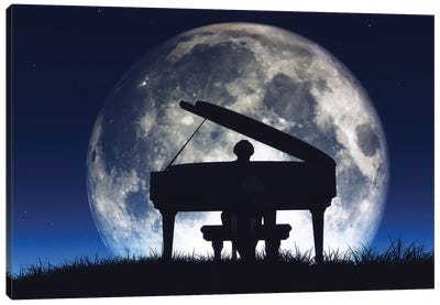 Silhouette Of A Man Playing The Piano Canvas Art Print