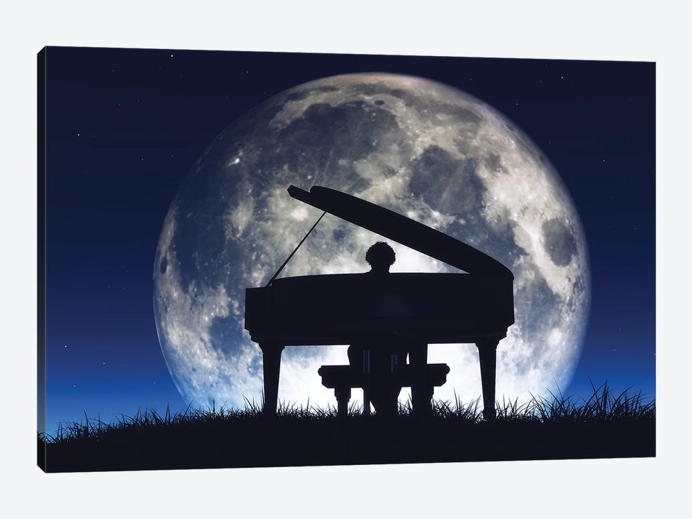 Silhouette Of A Man Playing The Piano by orlaimagen 1-piece Canvas Art Print