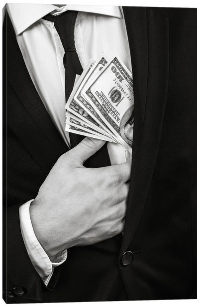 Black And White Image Of A Young Man In A Black Suit Holding Cash Canvas Art Print