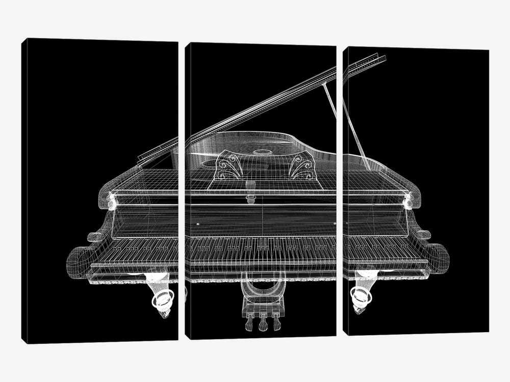 Antique Grand Piano With Path I by Podsolnukh 3-piece Canvas Art Print