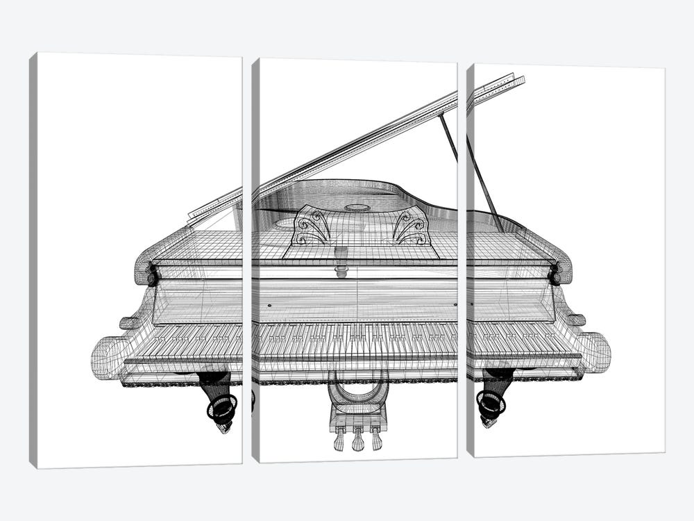 Antique Grand Piano With Path II by Podsolnukh 3-piece Canvas Artwork