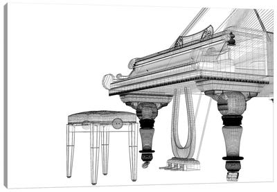 Antique Grand Piano With Path IV Canvas Art Print