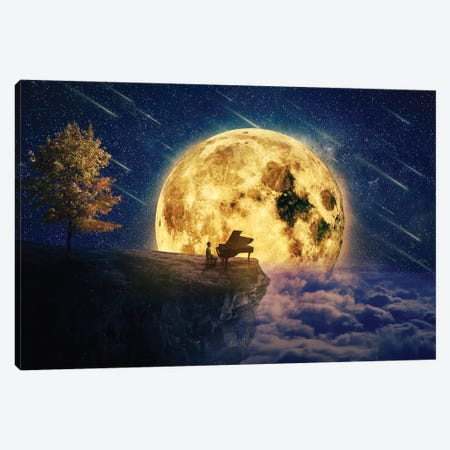 Midnight Piano Lullaby Canvas Print #DPT175} by psychoshadow Canvas Art