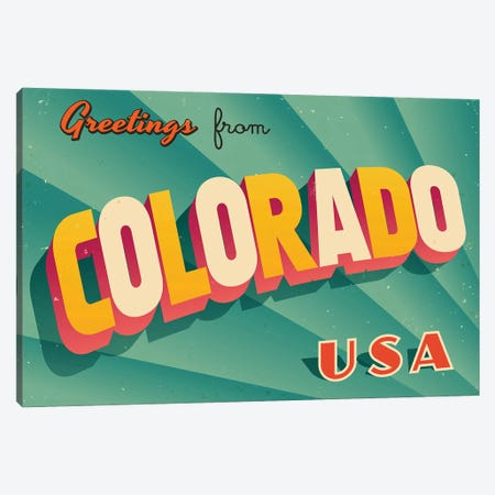 Greetings From Colorado Canvas Print #DPT177} by RealCallahan Canvas Art