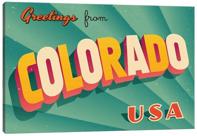 Greetings From Colorado Canvas Art Print