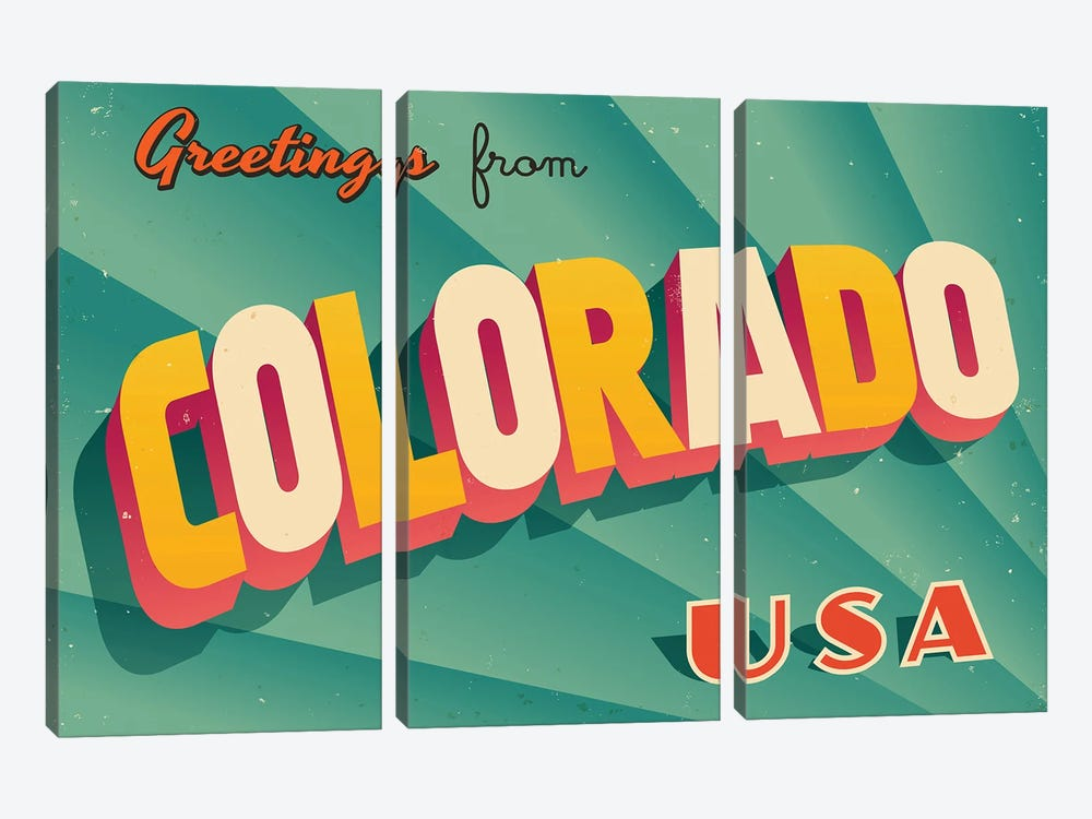 Greetings From Colorado by RealCallahan 3-piece Canvas Art