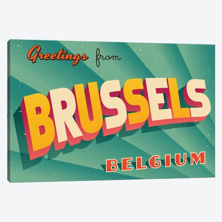 Greetings From Brussels Canvas Print #DPT178} by RealCallahan Canvas Print