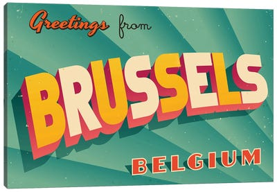 Greetings From Brussels Canvas Art Print