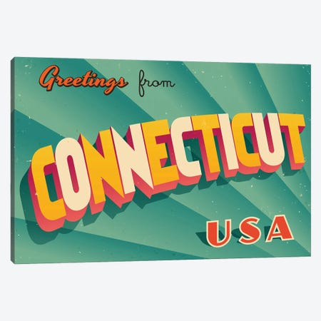 Greetings From Connecticut Canvas Print #DPT179} by RealCallahan Canvas Art Print