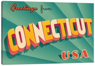 Greetings From Connecticut Canvas Art Print