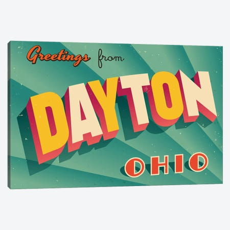 Greetings From Dayton Canvas Print #DPT180} by RealCallahan Canvas Wall Art