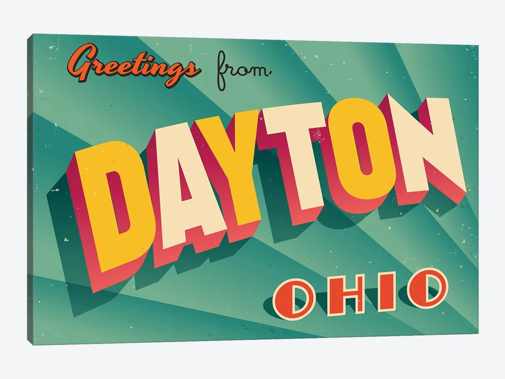 Greetings From Dayton by RealCallahan 1-piece Canvas Wall Art