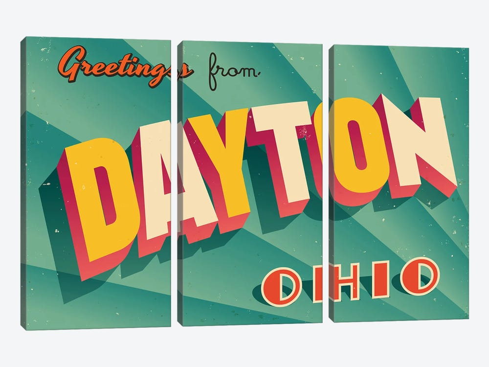 Greetings From Dayton by RealCallahan 3-piece Canvas Art