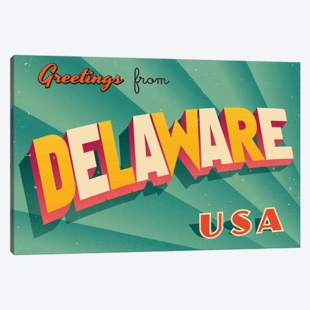 Greetings From Delaware Canvas Print #DPT182} by RealCallahan Canvas Artwork
