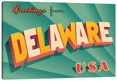 Greetings From Delaware Canvas Art Print