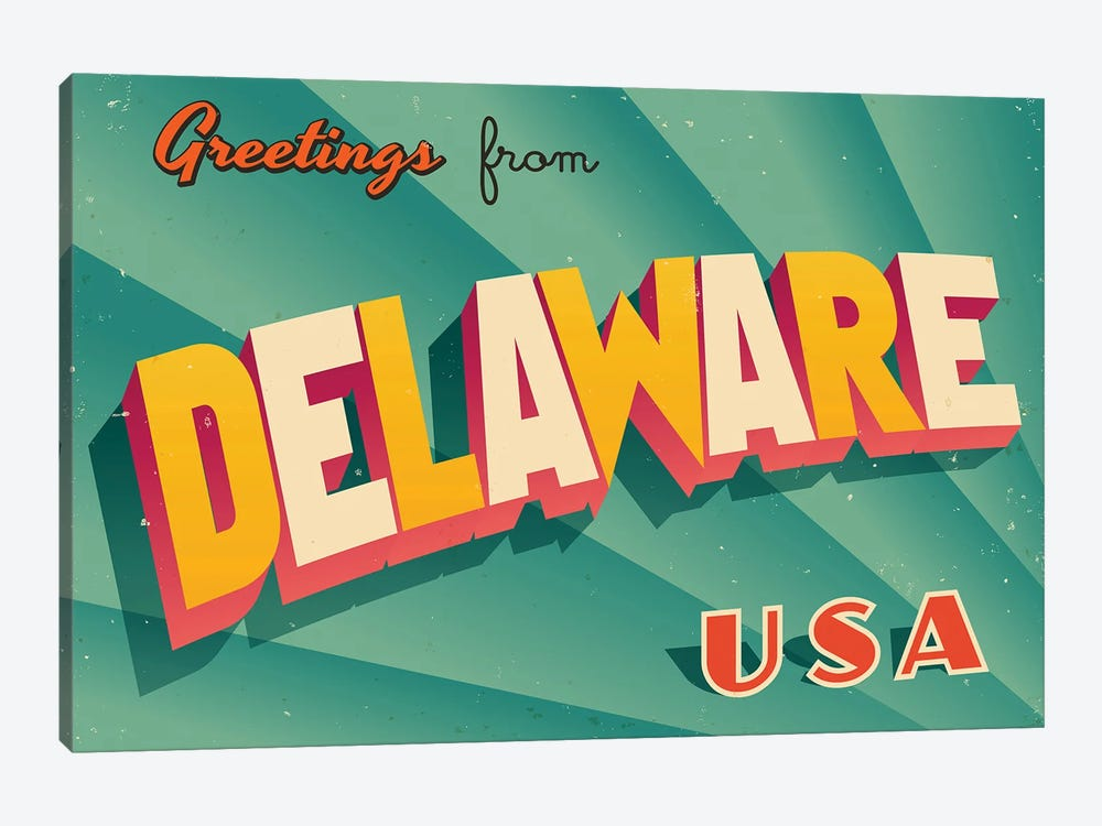 Greetings From Delaware by RealCallahan 1-piece Canvas Art