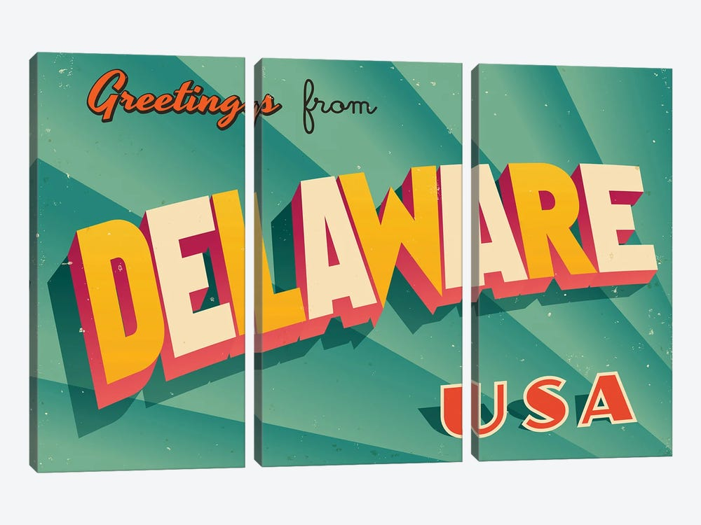 Greetings From Delaware by RealCallahan 3-piece Canvas Artwork