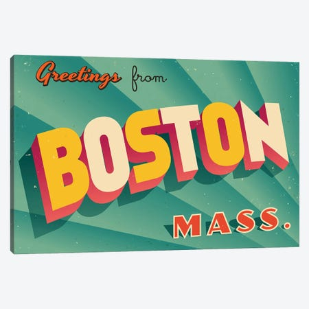 Greetings From Boston Canvas Print #DPT183} by RealCallahan Canvas Artwork