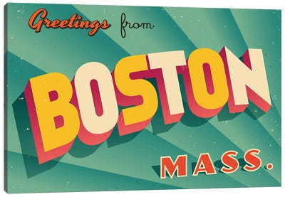 Greetings From Boston Canvas Art Print