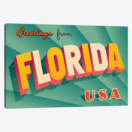 Greetings From Florida Canvas Print #DPT184} by RealCallahan Art Print