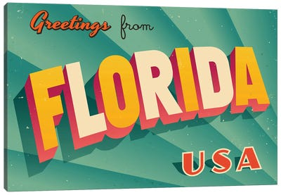 Greetings From Florida Canvas Art Print