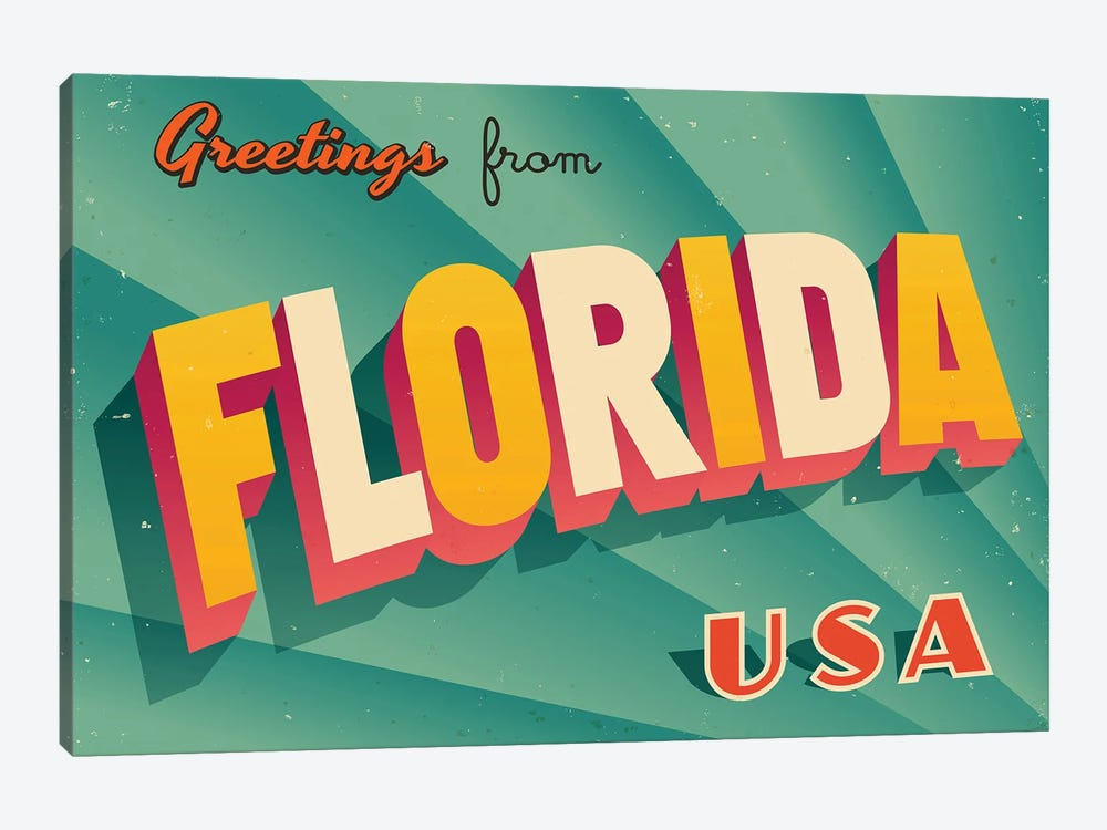Greetings From Florida by RealCallahan 1-piece Canvas Wall Art
