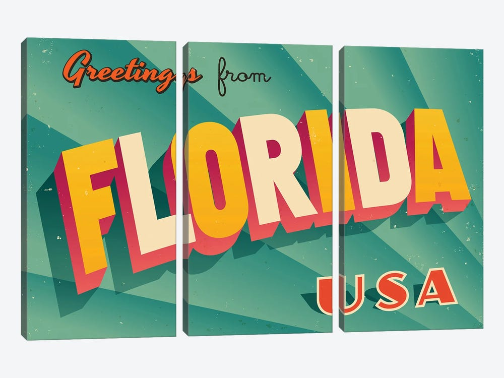 Greetings From Florida by RealCallahan 3-piece Canvas Art