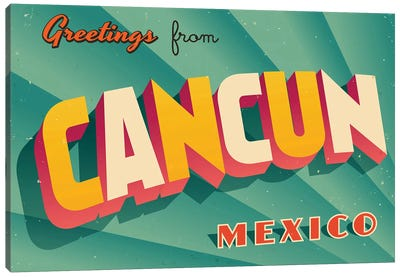 Greetings From Cancun Canvas Art Print