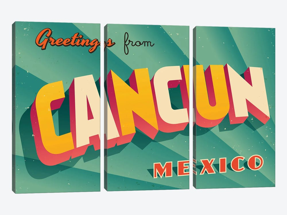 Greetings From Cancun by RealCallahan 3-piece Canvas Art Print