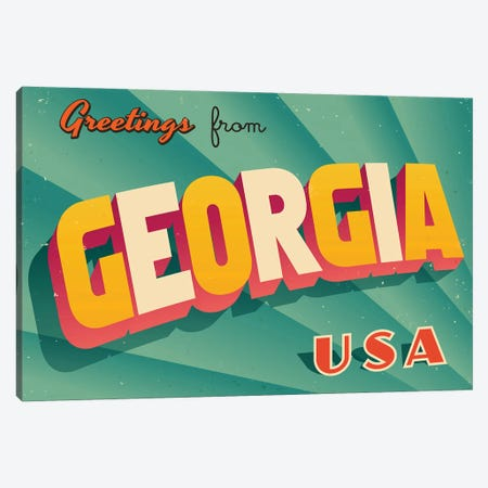 Greetings From Georgia Canvas Print #DPT186} by RealCallahan Canvas Art Print